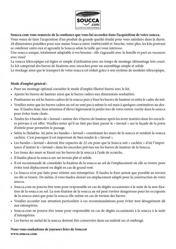 Instructions de Montage Soucca telescopique